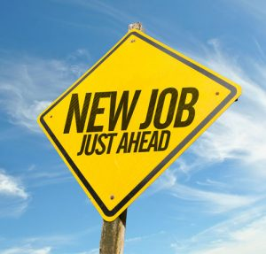 """Sign that reads """"new job, just ahead"""""""