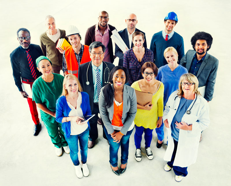 Red Lake Career and Employment Services: a multiethnic group of people standing in professional dress.