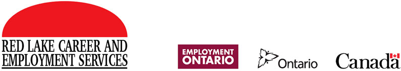Logos for Red Lake Jobs, Employment Ontario and the Ontario Government