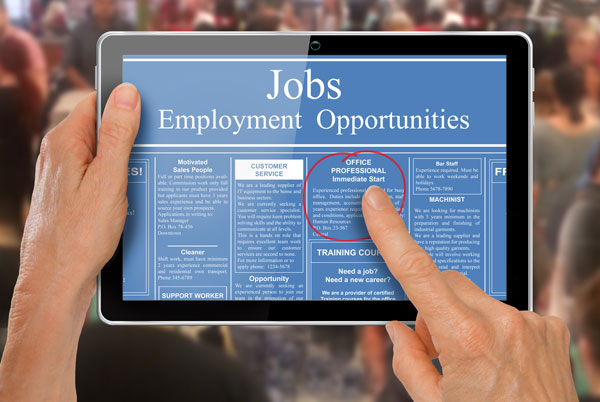 Employment Programs - a tablet computer with sample job listings